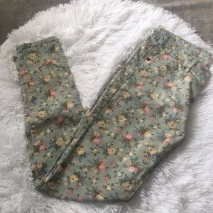 Love Fire Light Green Floral Skinny Jeans